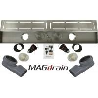 Трап сантехнический MAGdrain JC 600 Q50-B (80*600, магнитный клапан, Нерж., 2 слив. отверстия)